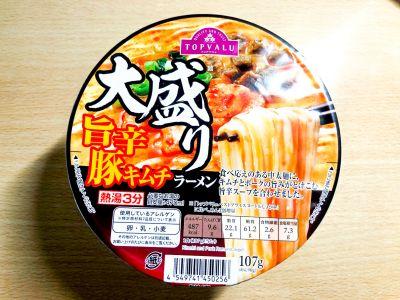トップバリュの「大盛り 旨辛豚キムチラーメン」を食べてみた!